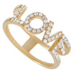 LB Exclusive 14 Karat Yellow Gold 0.35 Carat Diamond Love Ring