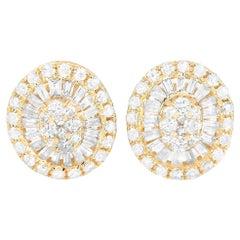 LB Exclusive 14 Karat Yellow Gold 0.65 Carat Diamond Earrings