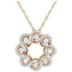 LB Exclusive 14 Karat Yellow Gold 1.00 Carat Diamond Pendant Necklace