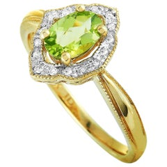 LB Exclusive 14 Karat Yellow Gold Diamond and Peridot Ring