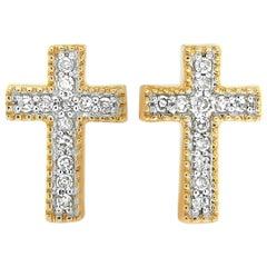 LB Exclusive 14 Karat Yellow Gold Diamond Cross Earrings