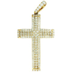 LB Exclusive 14 Karat Yellow Gold 1.12 ct Diamond Pave Cross Pendant