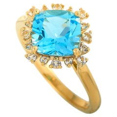 LB Exclusive 14 Karat Yellow Gold White Sapphire and Blue Topaz Ring