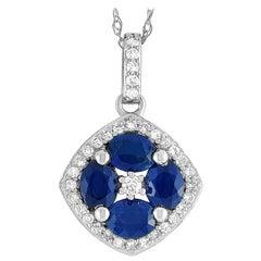 LB Exclusive 14k Gold 0.16 Carat Diamond and Sapphire Flower Pendant Necklace