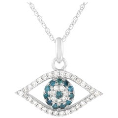 LB Exclusive 14K Gold 0.36 ct White and Blue Diamond Evil Eye Pendant Necklace