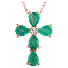 LB Exclusive 14K Rose Gold 0.01 Carat Diamond and Emerald Cross Pendant Necklace