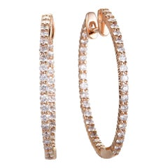 LB Exclusive 14K Rose Gold 1.00 Carat VS1 G Color Diamond Pave Hoop Earrings