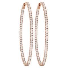 LB Exclusive 14K Rose Gold 4.14 Ct Diamond Hoop Earrings