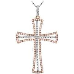 LB Exclusive 14K White and Rose Gold 0.75 Carat Diamond Cross Pendant Necklace
