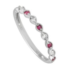 LB Exclusive 14K White Gold 0.06 Ct Diamond and Ruby Ring
