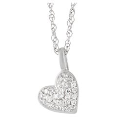 LB Exclusive 14K White Gold 0.06 Ct Diamond Heart Pendant Necklace