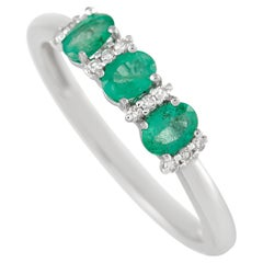 LB Exclusive 14K White Gold 0.07 Ct Diamond and 0.52 Ct Emerald Ring