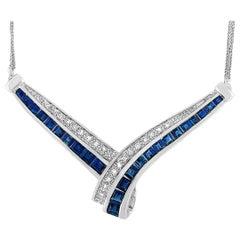 LB Exclusive 14K White Gold 0.10 Carat Diamond and Sapphire Pendant Necklace