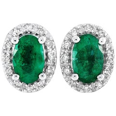 LB Exclusive 14K White Gold 0.10 ct Diamond and Emerald Oval Push Back Earrings