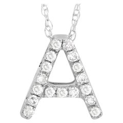 LB Exclusive 14K White Gold 0.10 Ct Diamond Initial 'A' Necklace