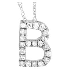 LB Exclusive 14K White Gold 0.10 Ct Diamond Initial 'B' Necklace