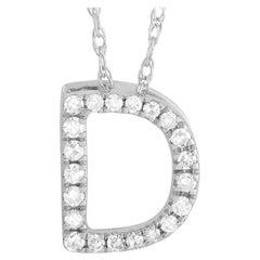 LB Exclusive 14K White Gold 0.10 Ct Diamond Initial 'D' Necklace