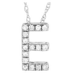 LB Exclusive 14K White Gold 0.10 Ct Diamond Initial 'E' Necklace