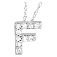 LB Exclusive 14K White Gold 0.10 Ct Diamond Initial 'F' Necklace