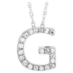 LB Exclusive 14K White Gold 0.10 Ct Diamond Initial 'G' Necklace