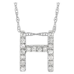LB Exclusive 14K White Gold 0.10 Ct Diamond Initial 'H' Necklace
