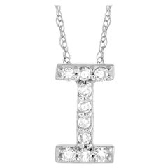 LB Exclusive 14k White Gold 0.10 Ct Diamond Initial 'I' Necklace