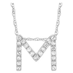 LB Exclusive 14K White Gold 0.10 Ct Diamond Initial 'M' Necklace