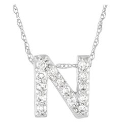 LB Exclusive 14K White Gold 0.10 ct Diamond Initial 'N' Necklace