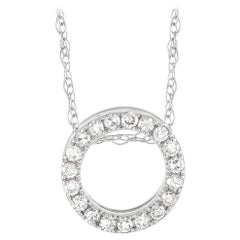 LB Exclusive 14K White Gold 0.10 Ct Diamond Initial 'O' Necklace