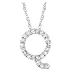 LB Exclusive 14K White Gold 0.10 Ct Diamond Initial 'Q' Necklace