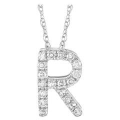 LB Exclusive 14K White Gold 0.10 Ct Diamond Initial 'R' Necklace
