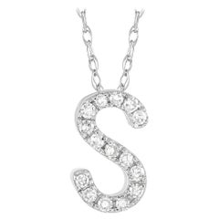 LB Exclusive 14K White Gold 0.10 Ct Diamond Initial 'S' Necklace