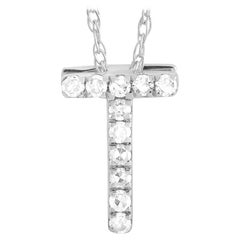 LB Exclusive 14K White Gold 0.10 Ct Diamond Initial 'T' Necklace