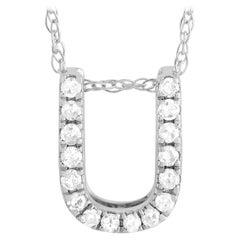 LB Exclusive 14K White Gold 0.10 Ct Diamond Initial 'U' Necklace