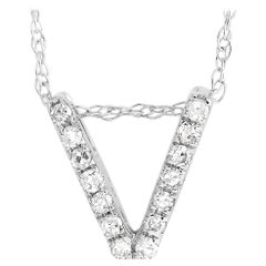LB Exclusive 14K White Gold 0.10 ct Diamond Initial 'V' Necklace