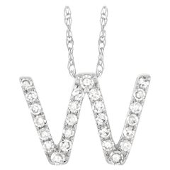 LB Exclusive 14K White Gold 0.10 Ct Diamond Initial 'W' Necklace