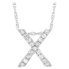 LB Exclusive 14K White Gold 0.10 Ct Diamond Initial 'X' Necklace