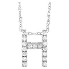 LB Exclusive 14K White Gold 0.10ct Diamond Initial 'H' Necklace