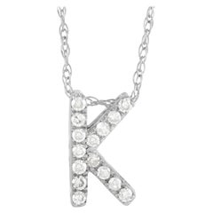 LB Exclusive 14k White Gold 0.10ct Diamond Initial 'K' Necklace