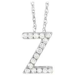 LB Exclusive 14K White Gold 0.10ct Diamond Initial 'Z' Necklace