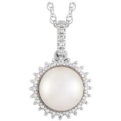 LB Exclusive 14K White Gold 0.12 ct Diamond and 0.12 ct Sapphire and Pearl Penda