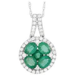 LB Exclusive 14K White Gold 0.25 ct Diamond and 1.00 ct Emerald Round Pendant Ne