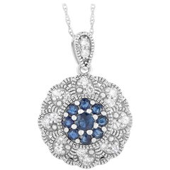 LB Exclusive 14K White Gold 0.27 Ct Diamond and Sapphire Round Pendant Necklace