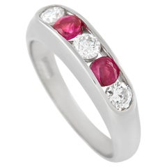 LB Exclusive 14K White Gold 0.30 Ct Diamond and Ruby Ring