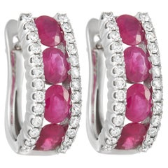 LB Exclusive 14K White Gold 0.39 Ct Diamond and Ruby Earrings