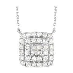 LB Exclusive 14k White Gold 0.50 Ct Diamond Cushion Pendant Necklace