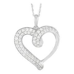 LB Exclusive 14K White Gold 0.50 Ct Diamond Heart Necklace