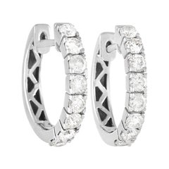 LB Exclusive 14K White Gold 0.83 ct Diamond Hoop Earrings