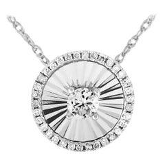 LB Exclusive 14 Karat White Gold and Diamond Circle Pendant Necklace
