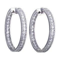 LB Exclusive 14 Karat White Gold Inside Out, 2 Carat Diamond Pave Hoop Earrings